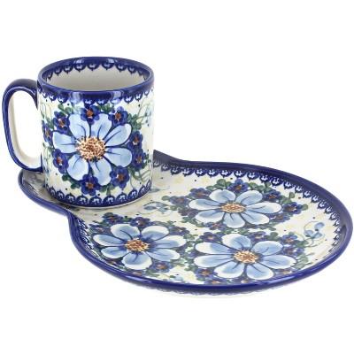 Blue Rose Polish Pottery Daisy Surprise Breakfast Plate with Mug