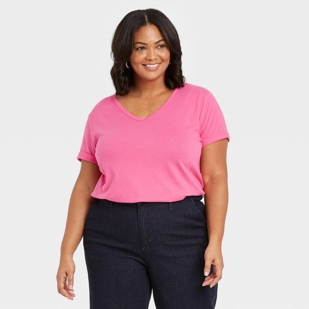 Women 39 S Plus Size Short Sleeve V Neck Slim Fit Essential T Shirt Ava 38 Viv 8482 Magenta 2x