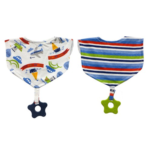 Neat Solutions 2pk Printed Interlock/Knit Terry Baby Bib with Teether Set- Blue - image 1 of 2