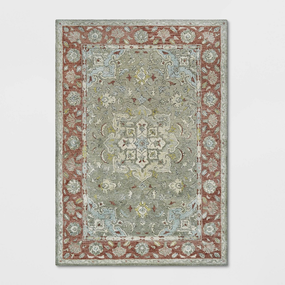 7'X10' Floral Tufted Area Rug Red - Threshold was $329.99 now $164.99 (50.0% off)