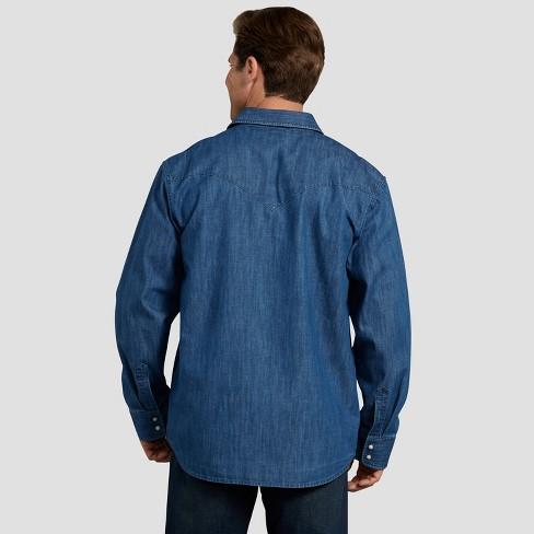 817cb643912 Dickies Men s Long Sleeve Button-Down Shirt - Denim Blue M   Target