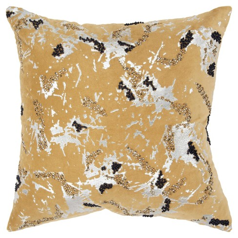Abstract Decorative Filled Oversize Square Throw Pillow Gold - Rizzy Home - image 1 of 4