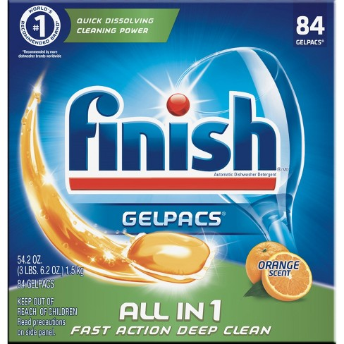 Finish Gelpacs Dishwasher Detergent, Orange Scent, 84ct - image 1 of 6