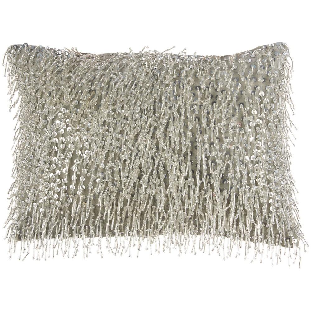 10 34 X14 34 Luminescence Beaded Lumbar Throw Pillow With Tassels Silver Mina Victory