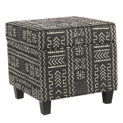 Square Storage Ottoman with Lift Off Top Onyx - HomePop