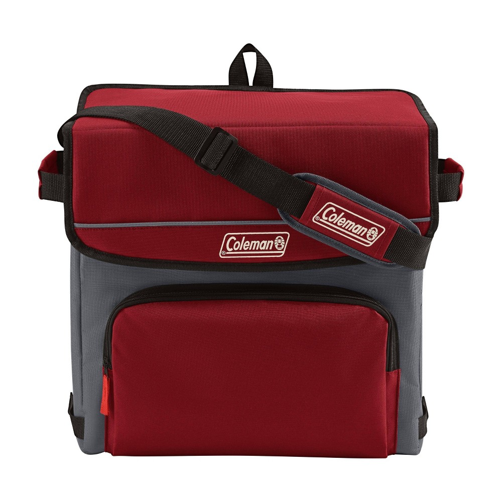 Image of Coleman 54 Can Collapsible Soft-Sided Cooler Bag - Red, Brown