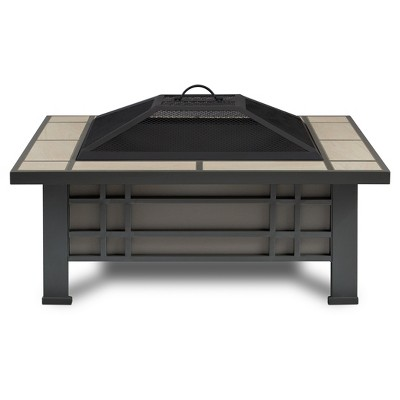 Morrison 33.6  Square Wood Burning Fire Pit - Cream Tile - Real Flame