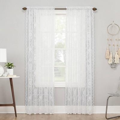 Ariella Farmhouse Lace Rod Pocket Sheer Curtain Panel - No. 918