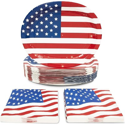 Sparkle and Bash 100 Piece Serves 50 Patriotic American Flag Paper Plates & Napkins for Memorial Day 4th July Party Supplies
