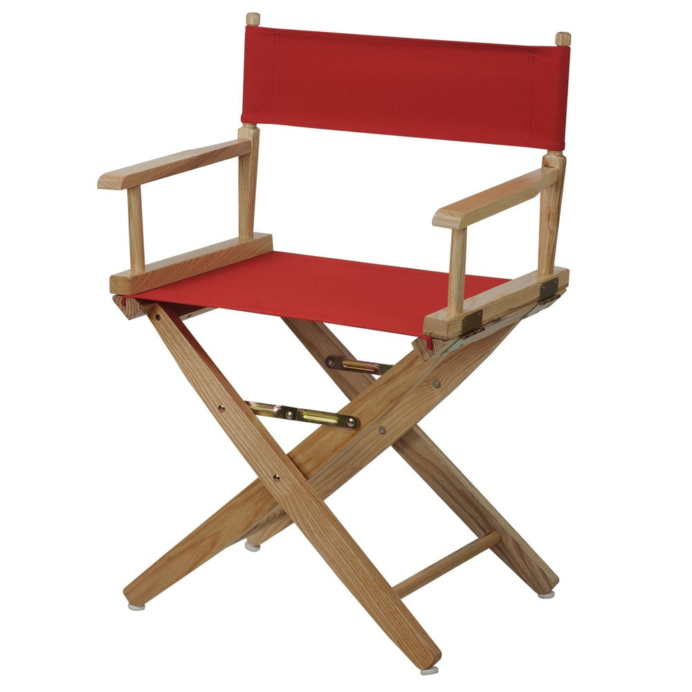 """Image of """"18"""""""" Extra Wide Directors Chair Natural Frame Red - Flora Home"""""""