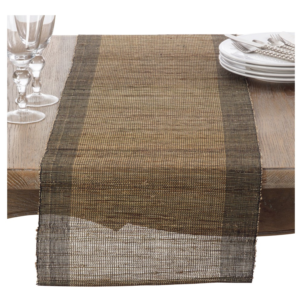 Light Brown Nubby Texture Stripe Design Table Runner (14x72) - Saro Lifestyle