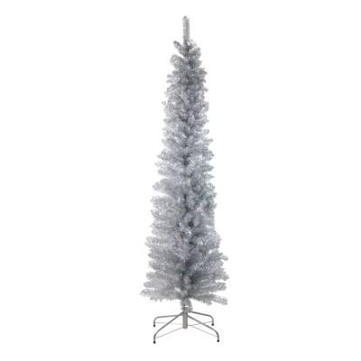 Northlight 6' Unlit Artificial Christmas Tree Pencil Silver Tinsel