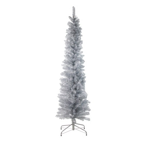 Northlight 6' Unlit Artificial Christmas Tree Pencil Silver Tinsel - image 1 of 1