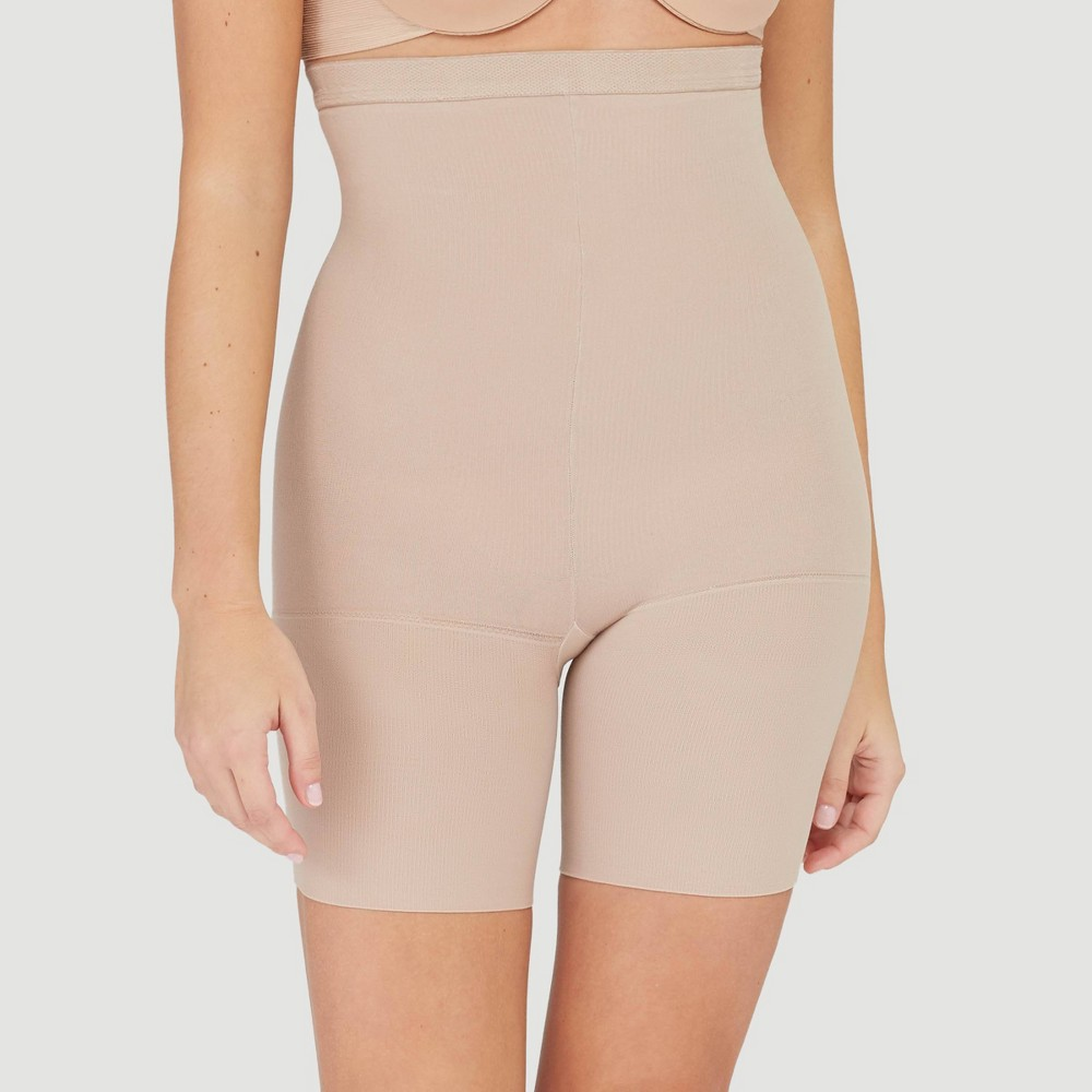 Image of Assets by Spanx Women's High-Waist Mid-Thigh Super Control Shaper - Tan 2