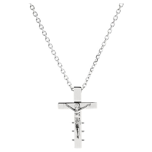 Men's Silver-Tone Stainless Steel Jesus On Cross Crucifix Necklace - image 1 of 1