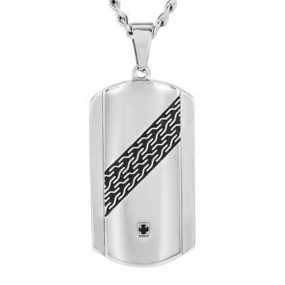 Crucible Men's Stainless Steel Cable Design and Cubic Zirconia Dog Tag Pendant Necklace - Black