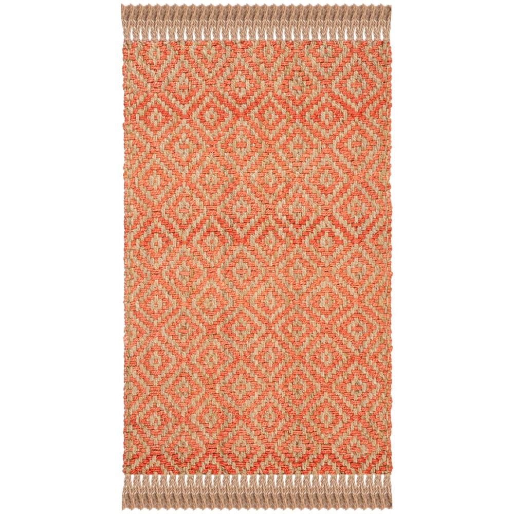 3 X5 Geometric Woven Accent Rug Orange Natural Safavieh