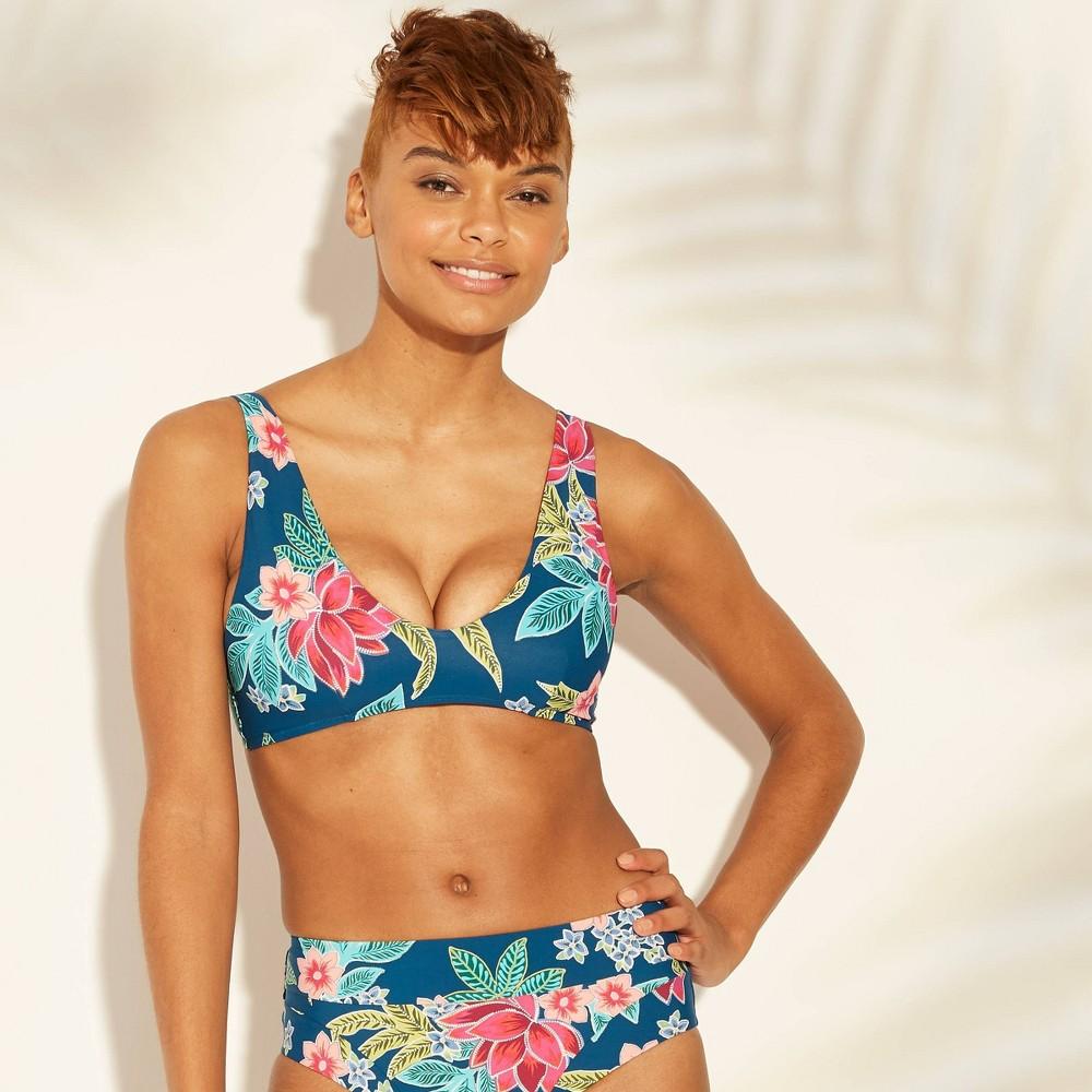 Women's Bralette Bikini Top - Sunn Lab Swim Blue Floral XL