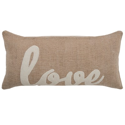 Rizzy Home Word Throw Pillow Beige