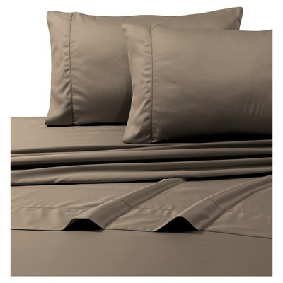 Egyptian Cotton Sateen Deep Pocket Solid Sheet Set (Queen)4pc Taupe 800 Thread Count - Tribeca Living®