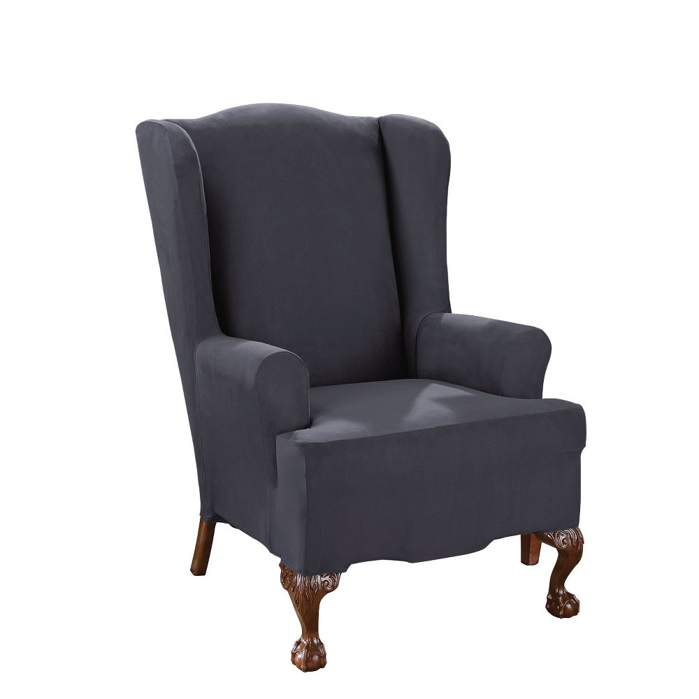 Stretch Suede Wing Chair Slipcover Storm Blue - Sure Fit