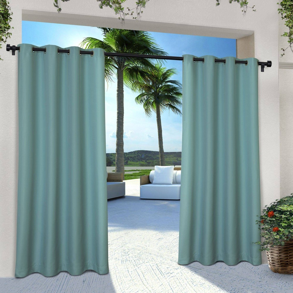 Set Of 2 96 34 X54 34 Solid Cabana Grommet Top Light Filtering Curtain Panel Teal Exclusive Home