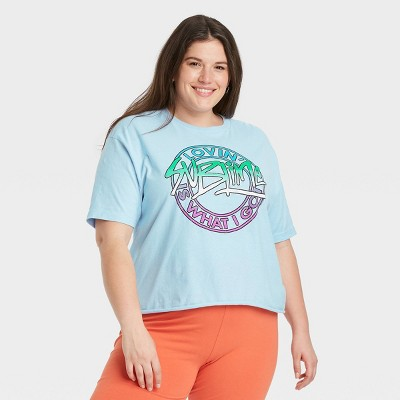 Women's Sublime Short Sleeve Cropped Graphic T-Shirt - Blue