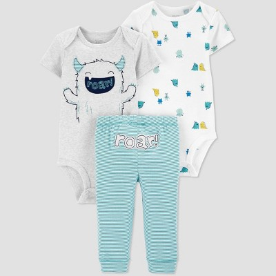 Baby Boys' 3pc Monster Top & Bottom Set - Just One You® made by carter's Blue/White/Gray 12M