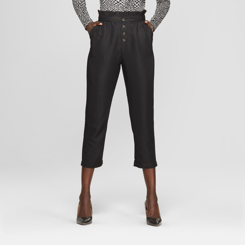 Women's Relaxed Button Front Ankle Trouser - Who What Wear Black L