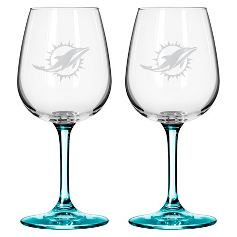Boelter Brands Miami Dolphins 2 Pack Wine Glass 12 oz - image 1 of 1