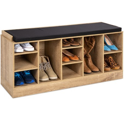Best Choice Products 46in Shoe Storage Organization Rack Bench for Entryway, Bedroom w/ Padded Seat, 10 Cubbies - Maple