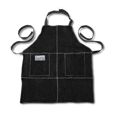 Black Leather Grill Apron One Size - Outset