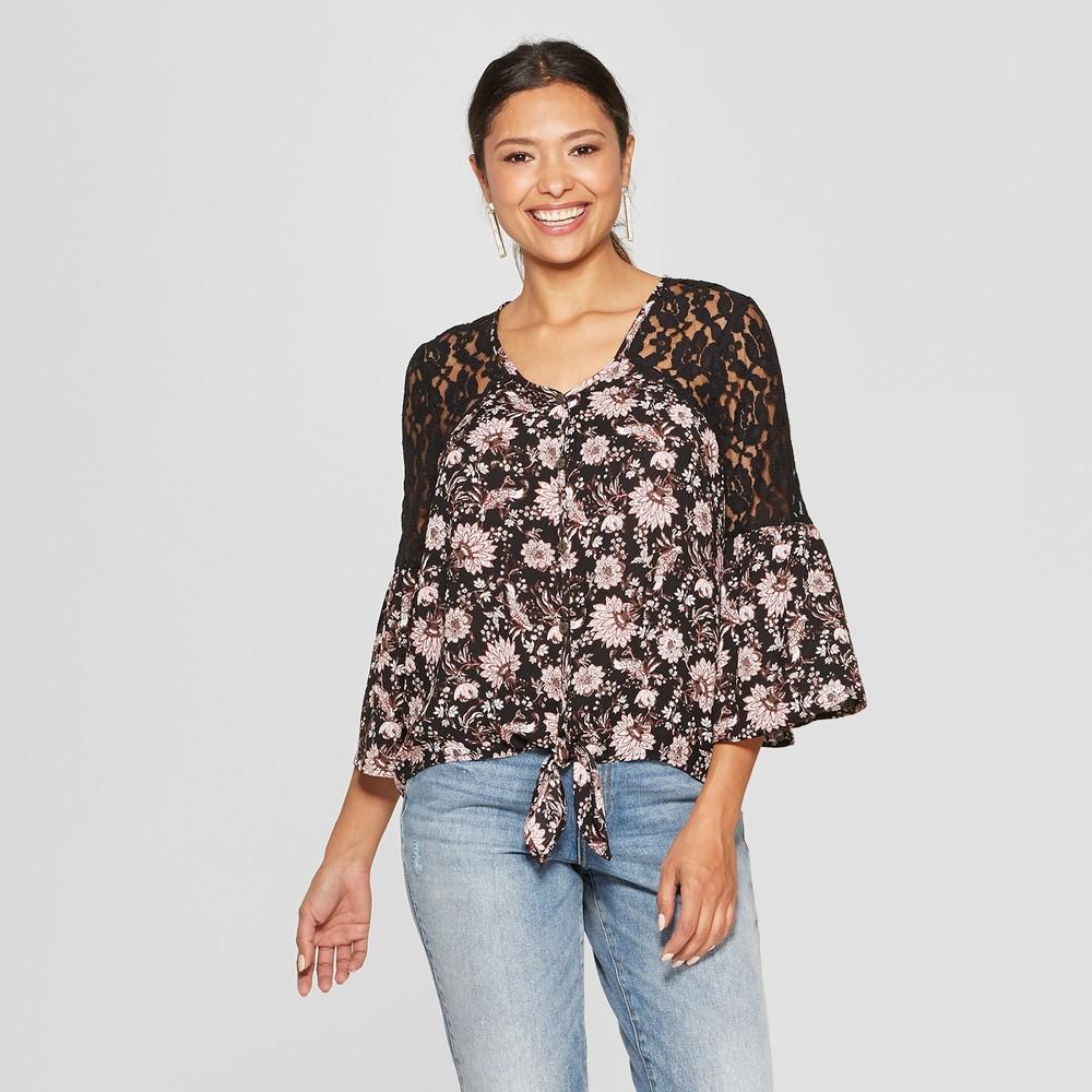 Women's Floral Print Long Sleeve V-Neck Tie Front Button-Down Shirt - Knox Rose Black L