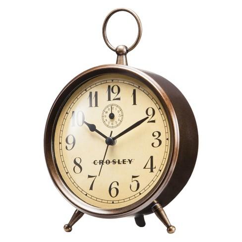 analog alarm clock antique bronze crosley target. Black Bedroom Furniture Sets. Home Design Ideas