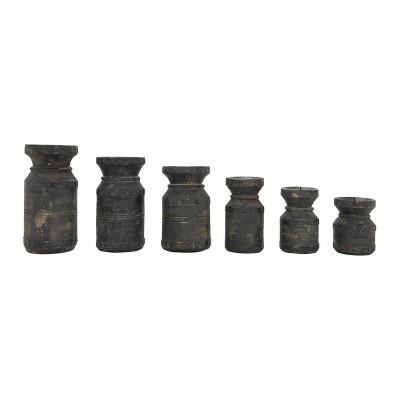 Set of 6 Found Wood Pillar Candles Holder Black - 3R Studios