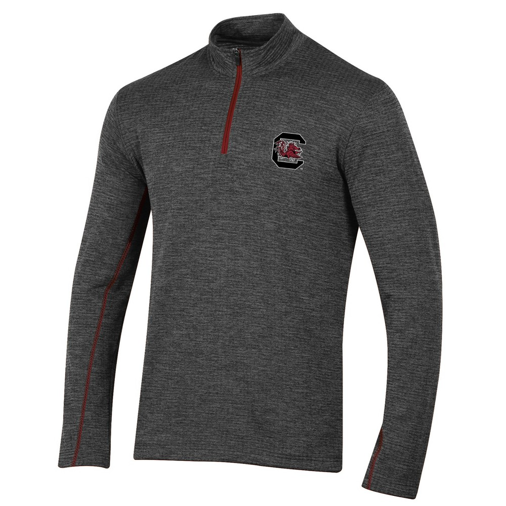 South Carolina Gamecocks Men's Long Sleeve Digital Textured 1/4 Zip Fleece - Gray L