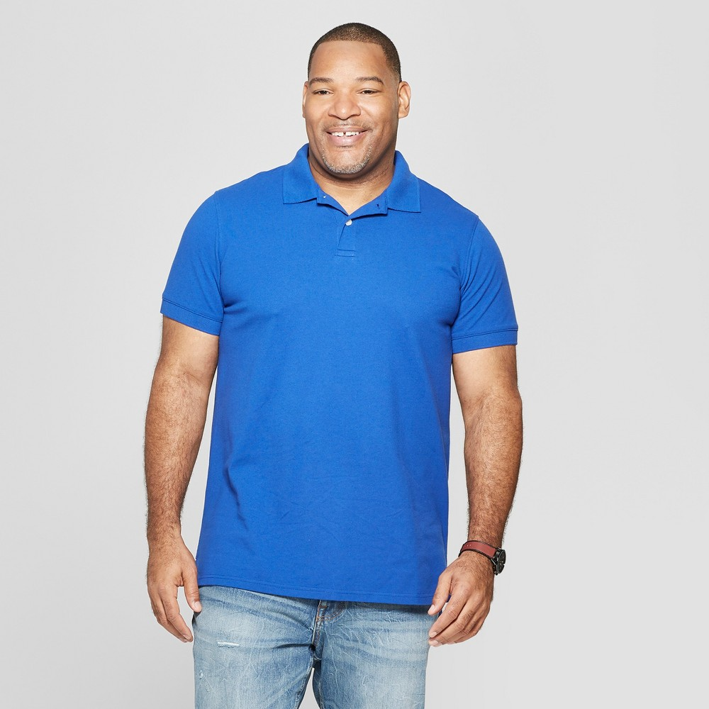 Men's Big & Tall Standard Fit Short Sleeve Pique Polo Shirt - Goodfellow & Co Uniform Blue 2XB
