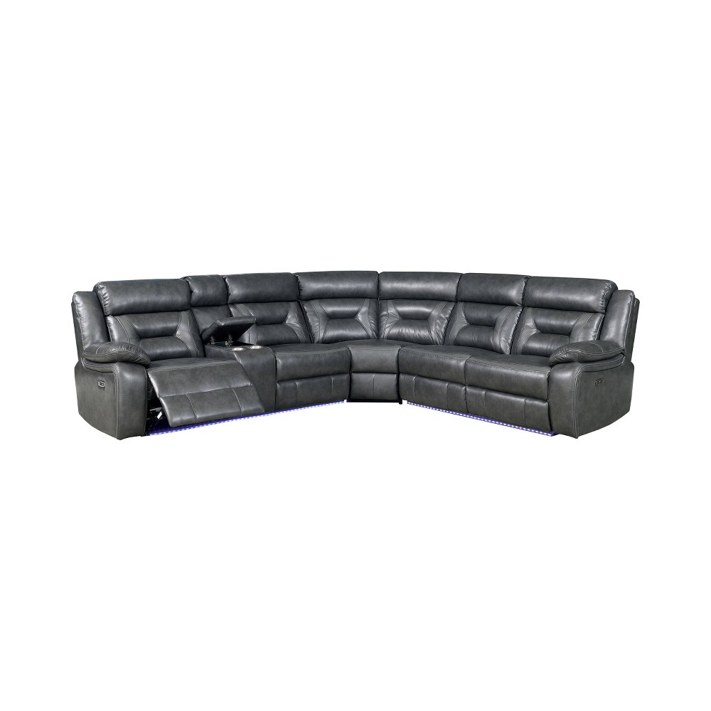 Image of Kent Upholstered Recliner Sectional Gray - miBasics