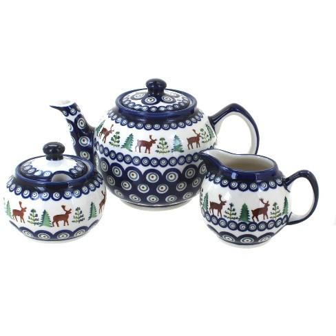 Blue Rose Polish Pottery Reindeer Pine 3 PC Tea Set - image 1 of 1