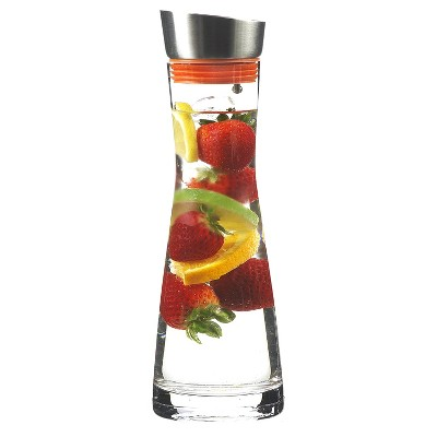 GROSCHE RIO Glass Infusion Water Pitcher and Sangria Maker Carafe with Stainless Steel Smart Filter Lid, 34 fl oz