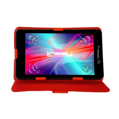 """LINSAY 7"""" Quad Core Tablet with Red Case 16GB"""