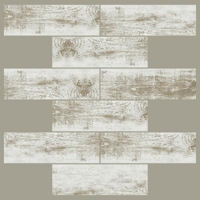 RoomMates 4pk Distressed Wood Subway Sticktiles Beige