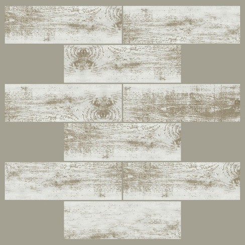 RoomMates 4pk Distressed Wood Subway Sticktiles Beige - image 1 of 2