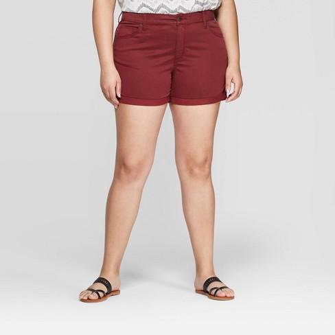 bf8e14b517 Women's Plus Size Mid-Rise Jean Shorts - Universal Thread™ Burgundy : Target