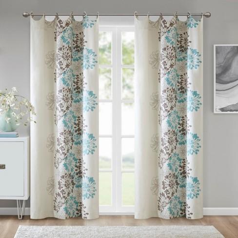Ally Fl Printed Curtain Panel Blue Brown 50 X63