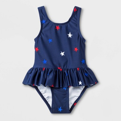 Baby Girls' Skirted One Piece Swimsuit - Cat & Jack™ Navy 9M