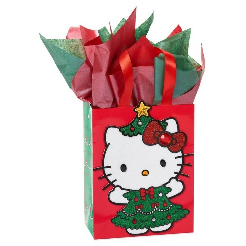 Medium Papyrus Christmas Hello Kitty Tree Medium Gift Bag and Tissue Paper Red and Green - image 1 of 3