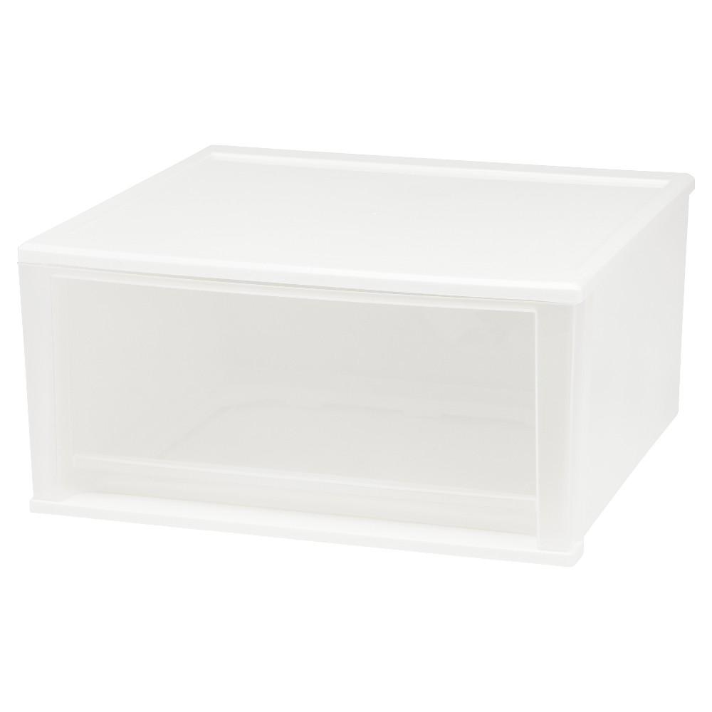 Iris 51qt Stacking Plastic Storage Drawer, White