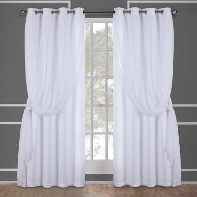 "Set of 2 63""x52"" Caterina Layered Solid Blackout With Sheer Top Curtain Panels White - Exclusive Home"
