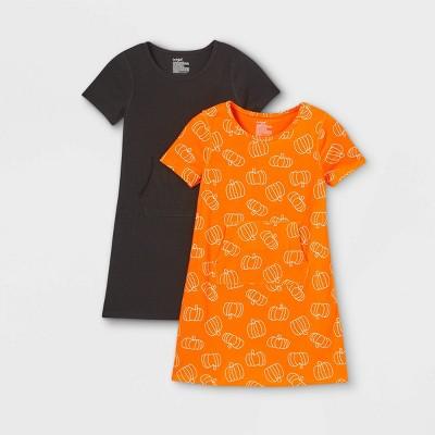 Girls' Adaptive 2pk Dress - Cat & Jack™ Orange/Black
